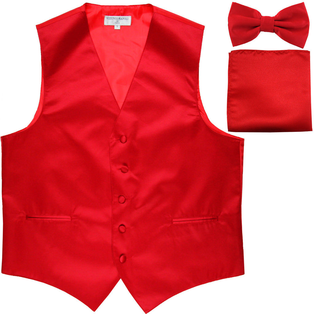 New Men's formal vest Tuxedo Waistcoat_bowtie & hankie set wedding prom red