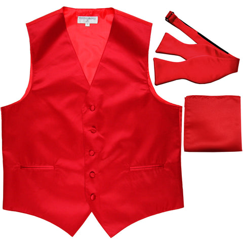 New Men's vest Tuxedo Waistcoat self tie bow tie and hankie set red