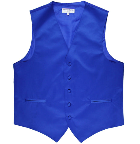New polyester men's tuxedo vest waistcoat only solid wedding formal royal blue