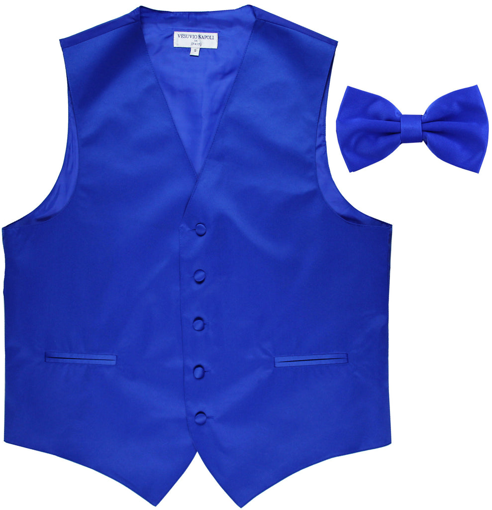 New Men's Formal Vest Tuxedo Waistcoat with Bowtie wedding prom party royal blue