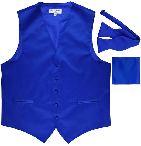 New Men's vest Tuxedo Waistcoat self tie bow tie and hankie set royal blue
