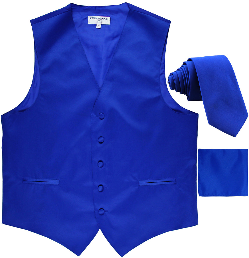 "New Men's formal vest Tuxedo Waistcoat_2.5"" necktie & hankie wedding royal blue"