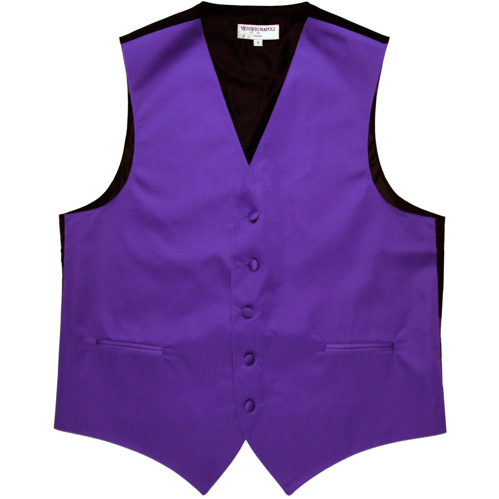 New polyester men's tuxedo vest waistcoat only solid wedding formal purple