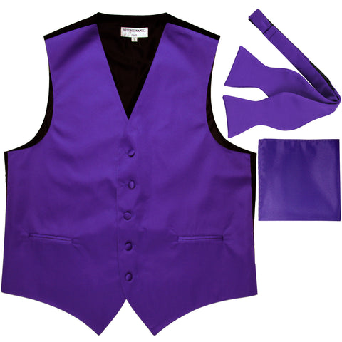 New Men's vest Tuxedo Waistcoat self tie bow tie and hankie set purple