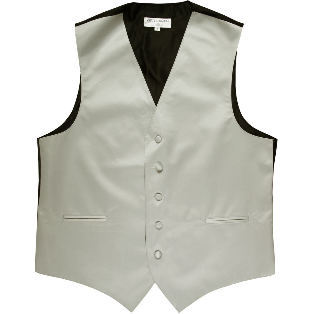 New polyester men's tuxedo vest waistcoat only solid wedding formal silver