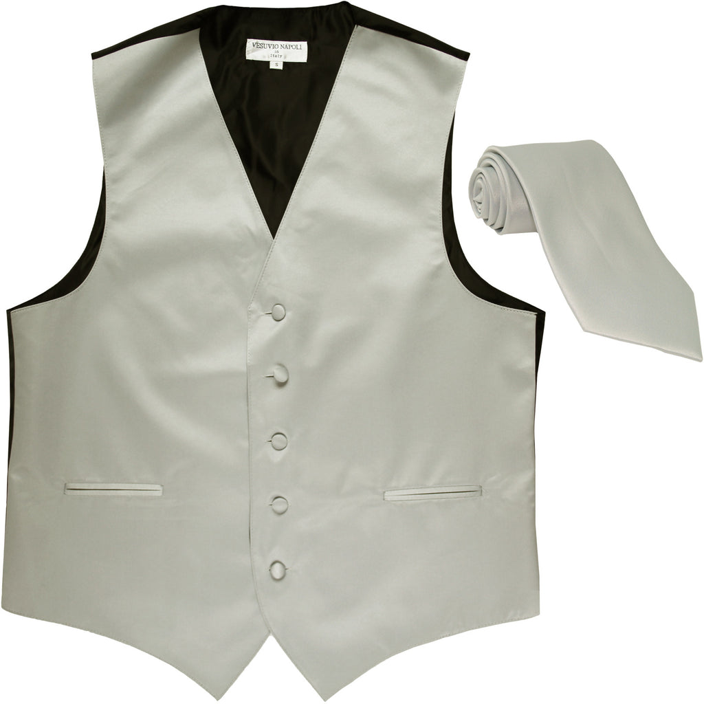 New Men's Formal Tuxedo Vest Waistcoat_Necktie solid wedding prom silver