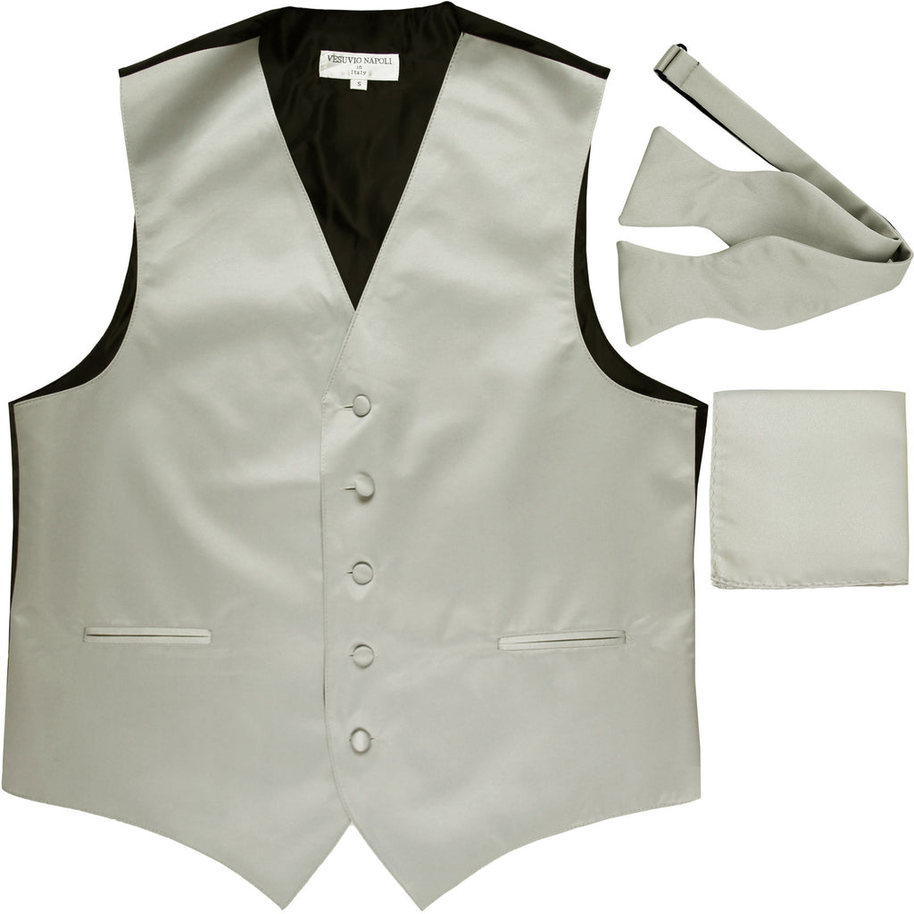 New Men's vest Tuxedo Waistcoat self tie bow tie and hankie set silver