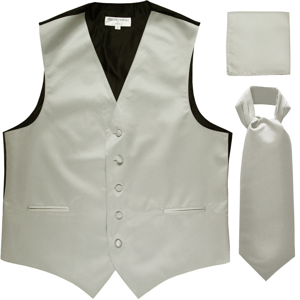 New Men's formal vest Tuxedo Waistcoat ascot hankie set wedding prom silver