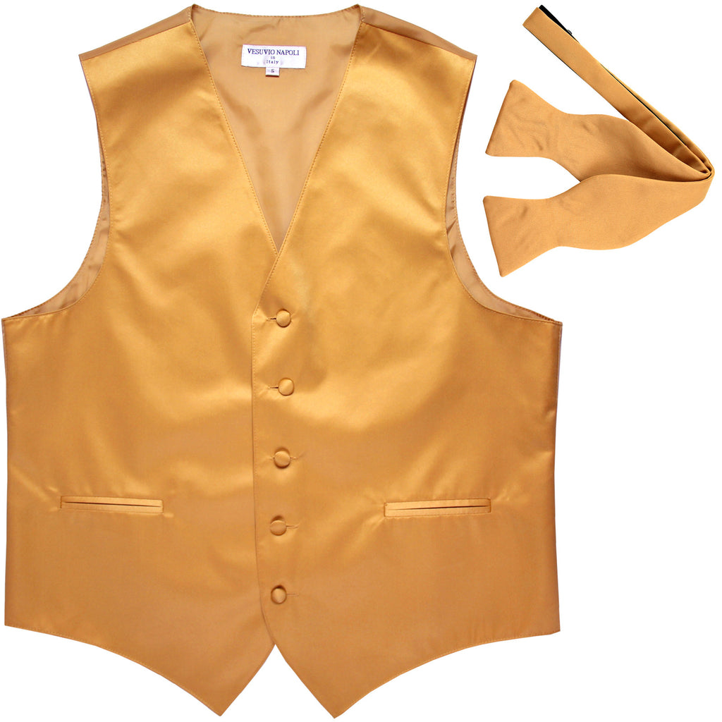 New Men's Formal Vest Tuxedo Waistcoat with free style selftie Bowtie gold