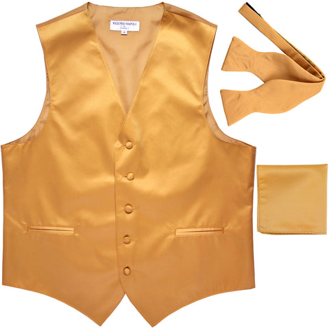 New Men's vest Tuxedo Waistcoat self tie bow tie and hankie set gold