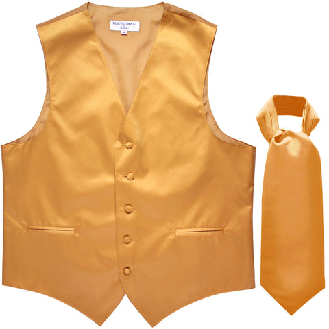 New Men's Formal Tuxedo Vest Waistcoat solid & Ascot cravat Prom gold