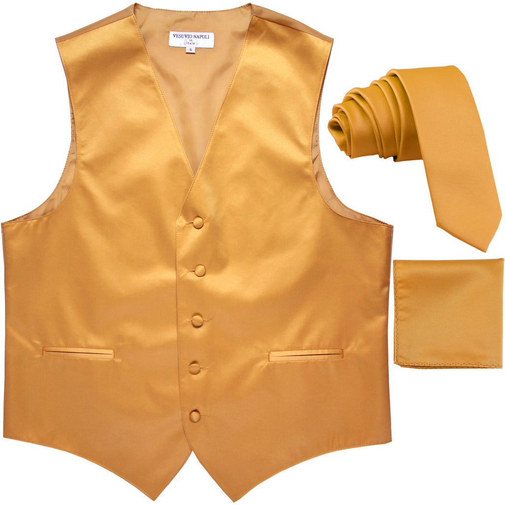 "New Men's formal vest Tuxedo Waistcoat_2.5"" necktie & hankie wedding gold"