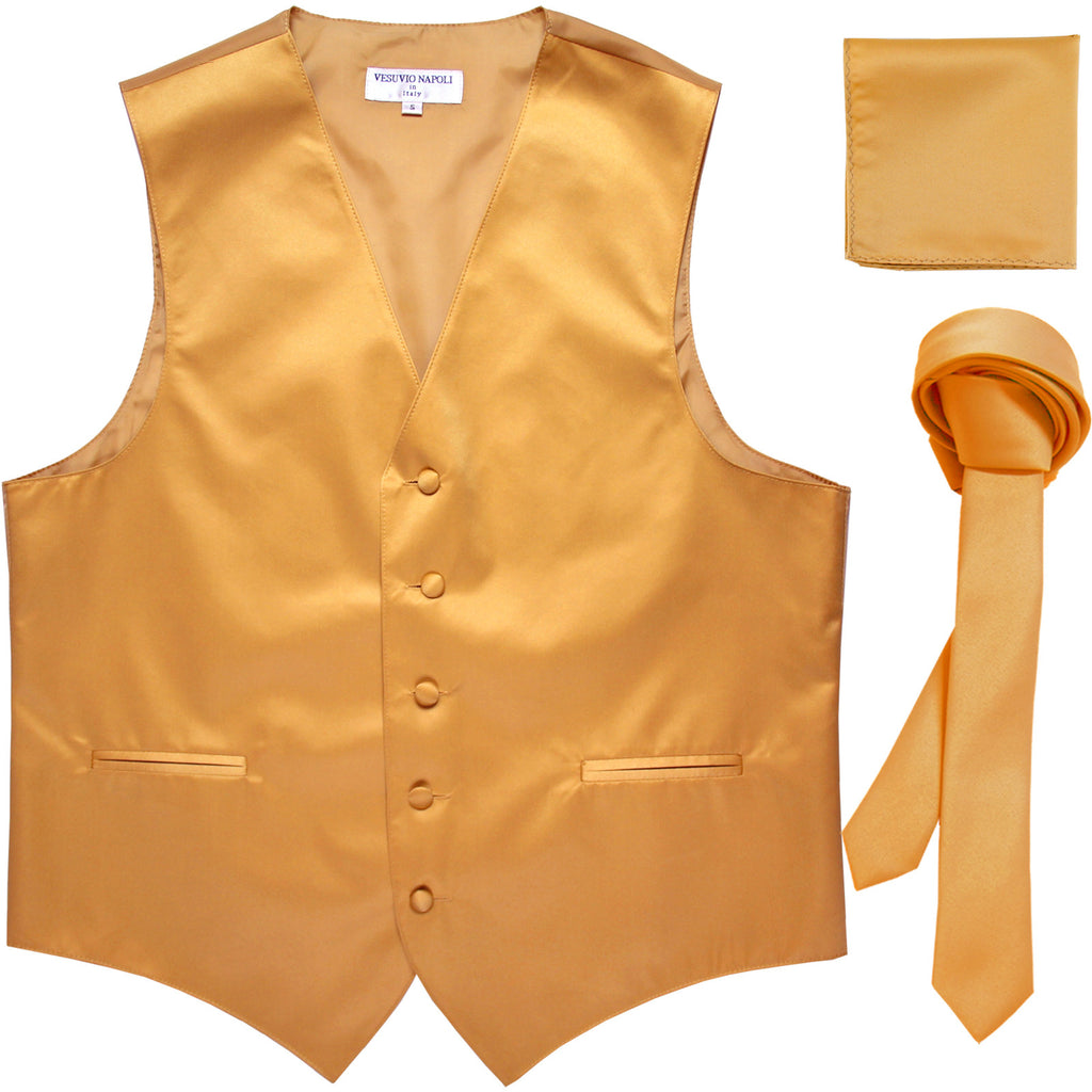 "New Men's formal vest Tuxedo Waistcoat_1.5"" necktie & hankie set wedding gold"