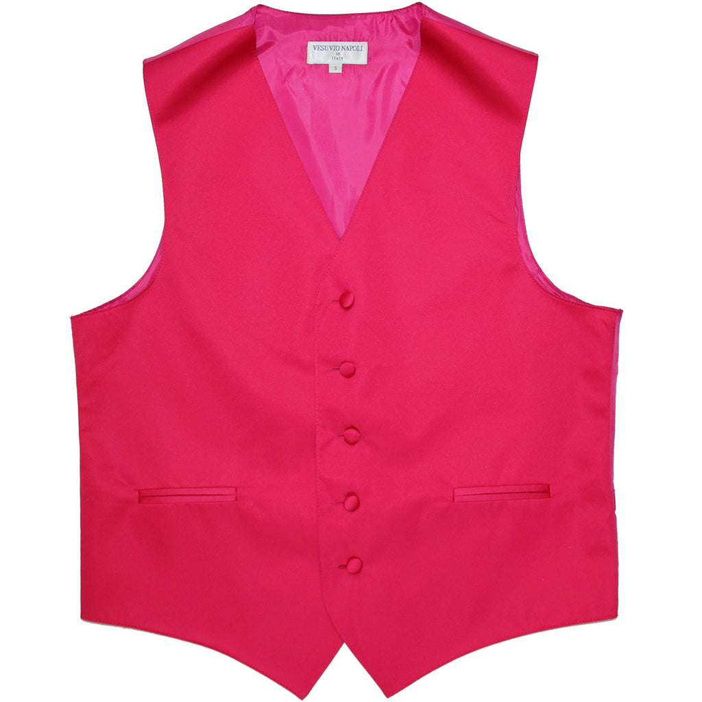 New polyester men's tuxedo vest waistcoat only solid wedding formal hot pink
