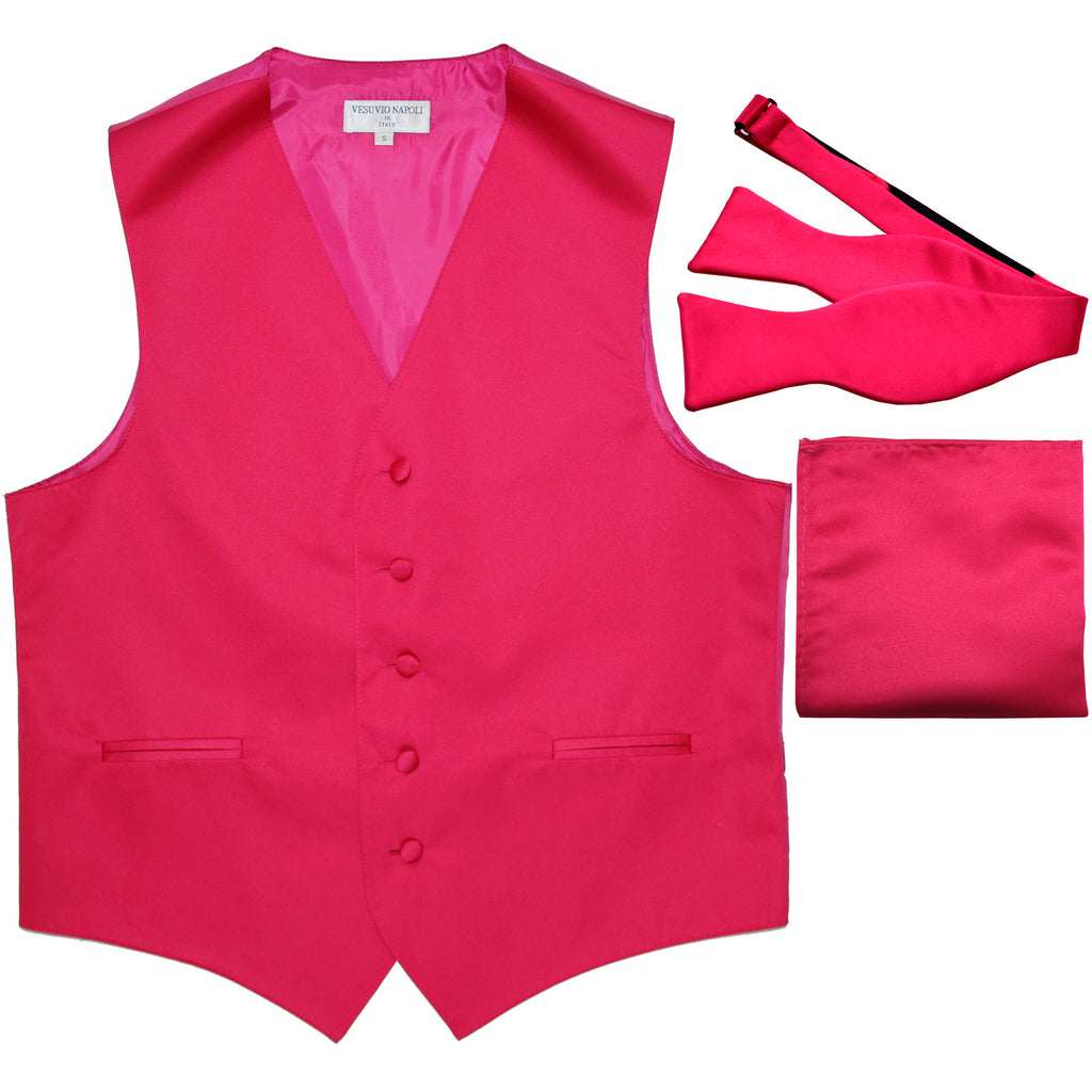 New Men's vest Tuxedo Waistcoat self tie bow tie and hankie set hot pink