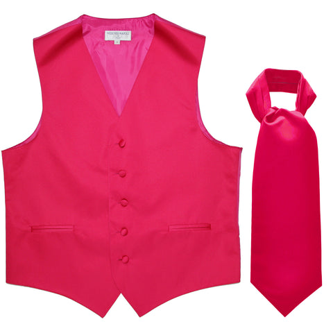 New Men's Formal Tuxedo Vest Waistcoat solid & Ascot cravat Prom hot pink