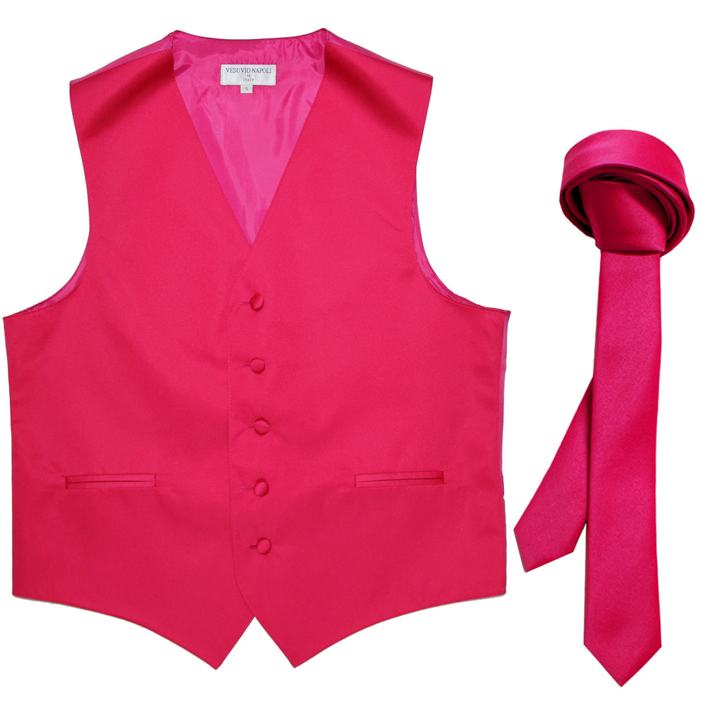 "New Men's Formal Tuxedo Vest Waistcoat_1.5"" skinny Necktie wedding prom hot pink"