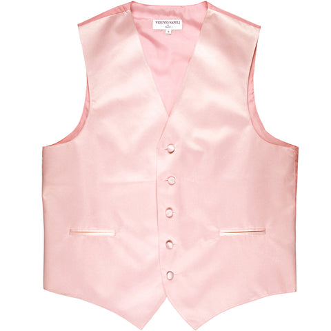 New polyester men's tuxedo vest waistcoat only solid wedding formal pink