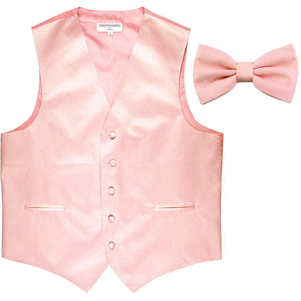 New Men's Formal Vest Tuxedo Waistcoat with Bowtie wedding prom party pink