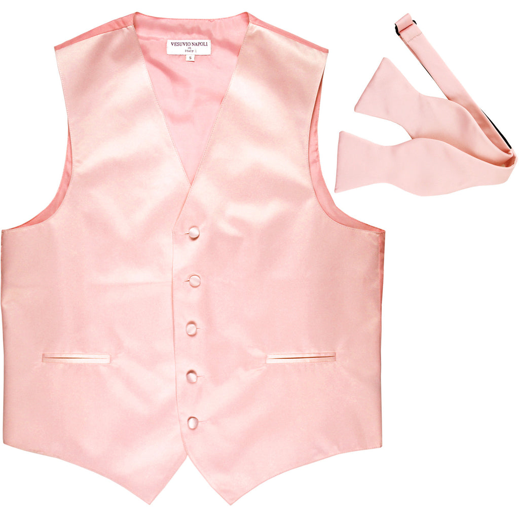 New Men's Formal Vest Tuxedo Waistcoat with free style selftie Bowtie pink
