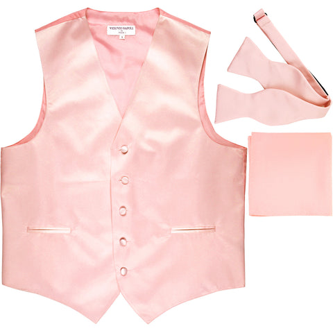 New Men's vest Tuxedo Waistcoat self tie bow tie and hankie set pink