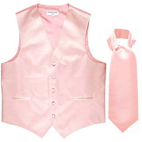 New Men's Formal Tuxedo Vest Waistcoat solid & Ascot cravat Prom pink