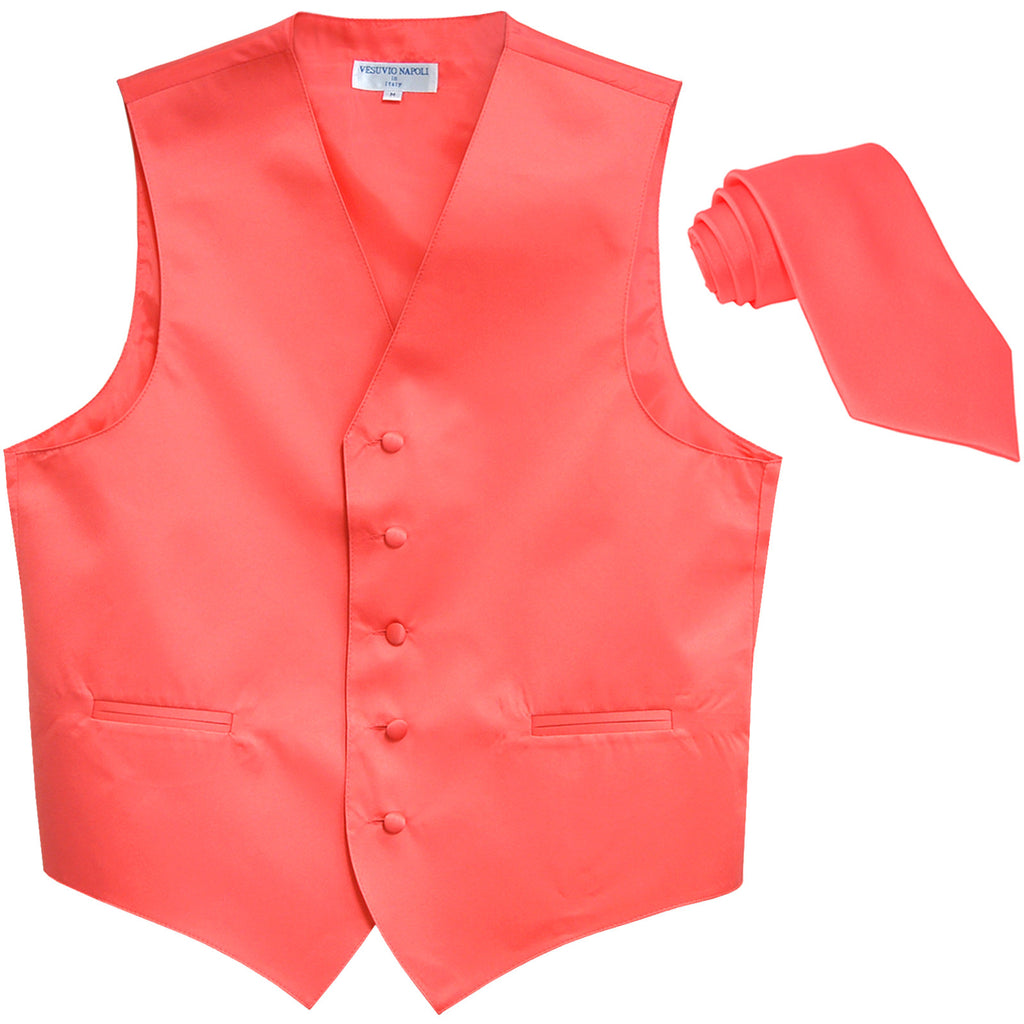 New Men's Formal Tuxedo Vest Waistcoat_Necktie solid wedding prom coral