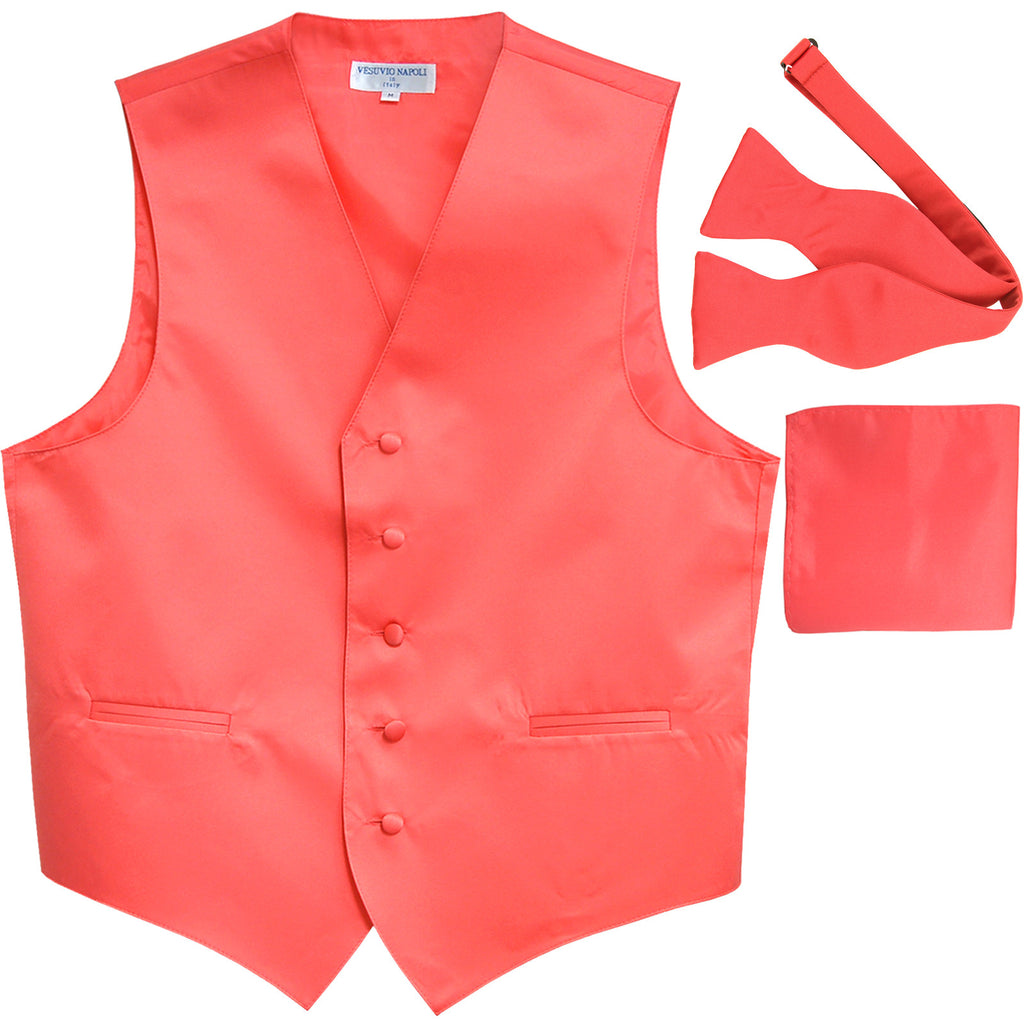 New Men's vest Tuxedo Waistcoat self tie bow tie and hankie set coral