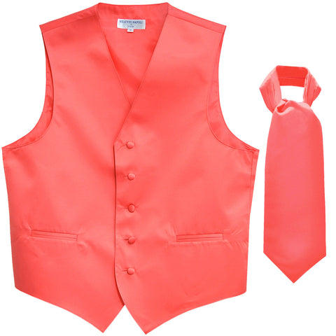 New Men's Formal Tuxedo Vest Waistcoat solid & Ascot cravat Prom coral