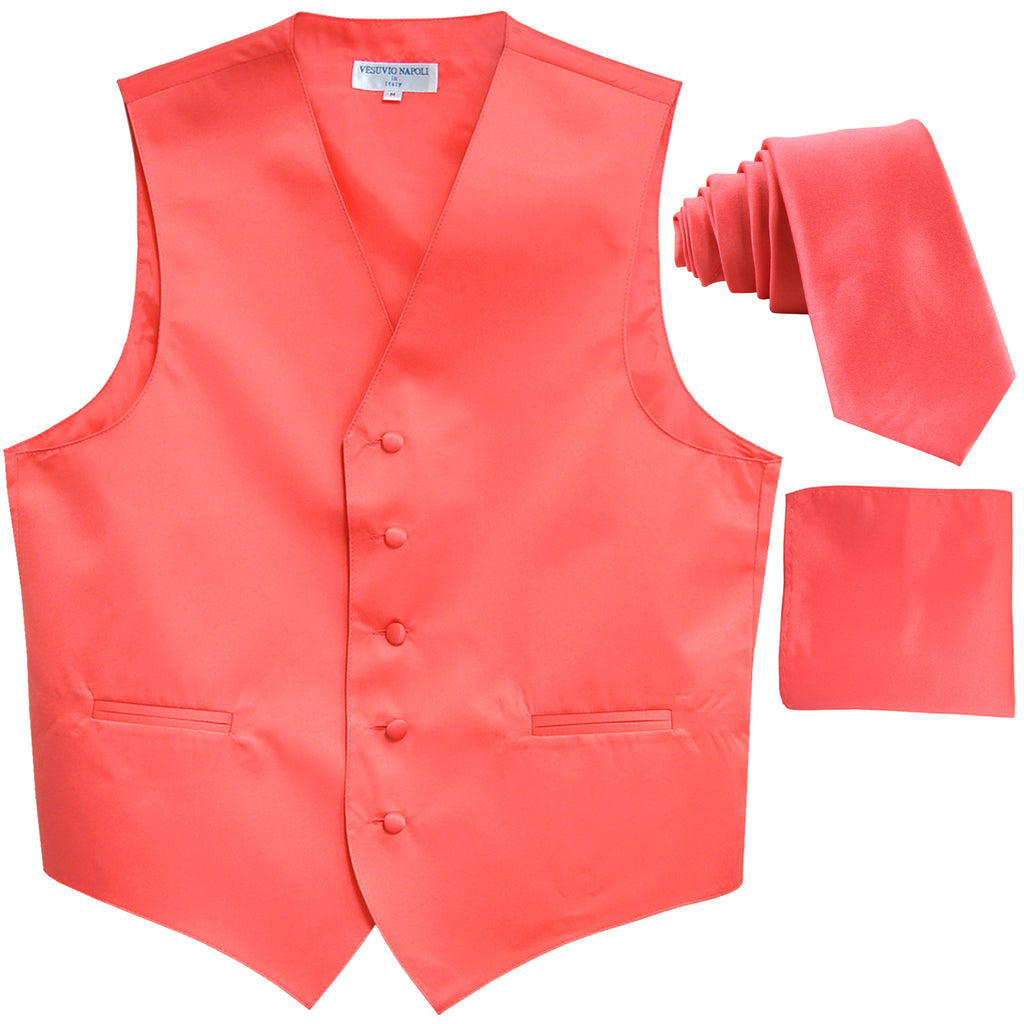 "New Men's formal vest Tuxedo Waistcoat_2.5"" necktie & hankie wedding coral"