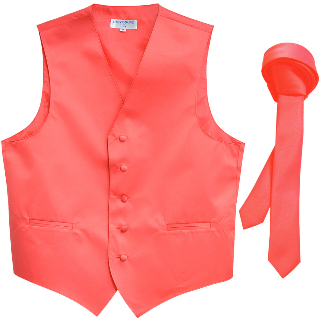 "New Men's Formal Tuxedo Vest Waistcoat_1.5"" skinny Necktie wedding prom coral"