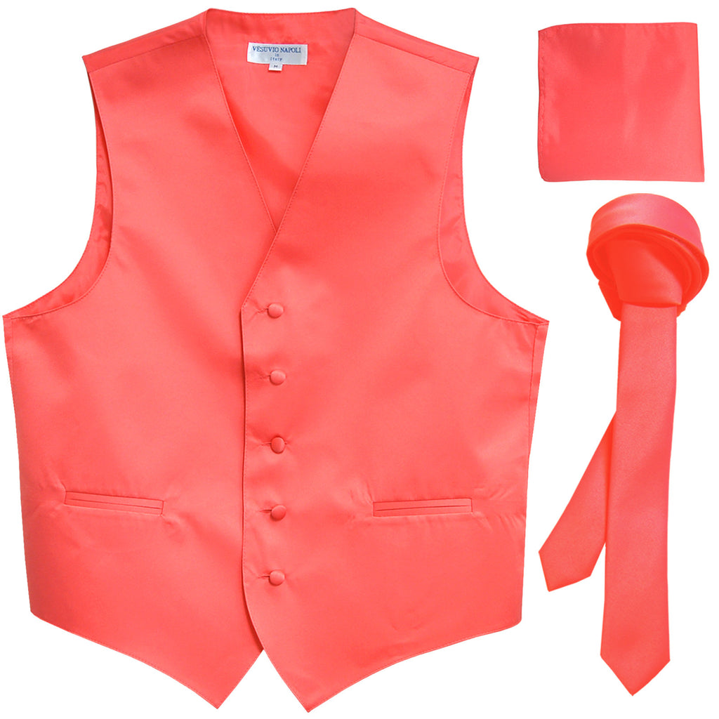 "New Men's formal vest Tuxedo Waistcoat_1.5"" necktie & hankie set wedding coral"