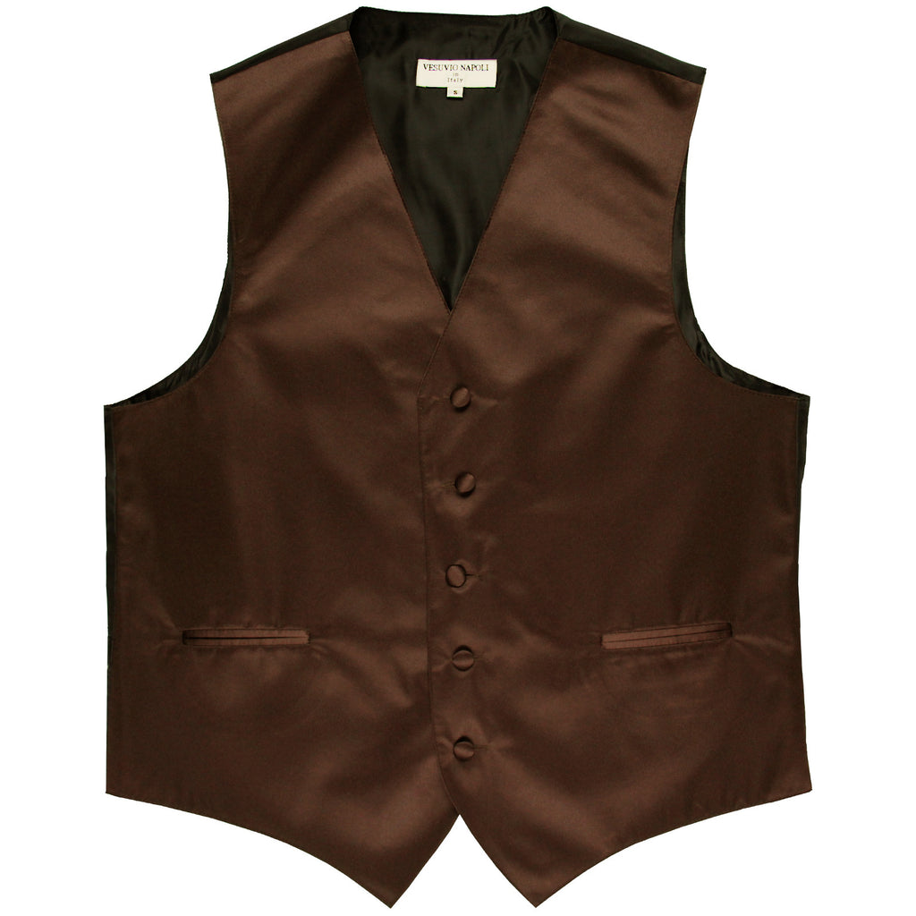 New polyester men's tuxedo vest waistcoat only solid wedding formal brown