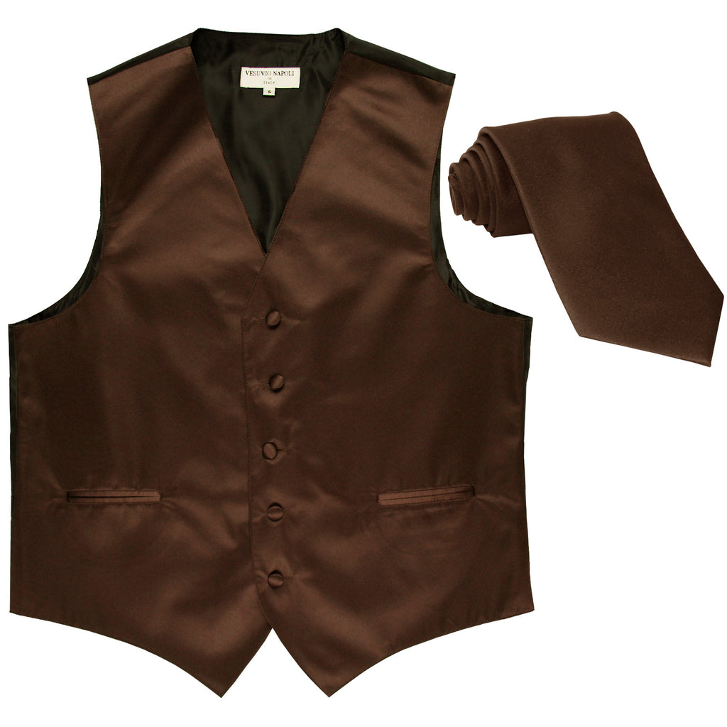 New Men's Formal Tuxedo Vest Waistcoat_Necktie solid wedding prom brown