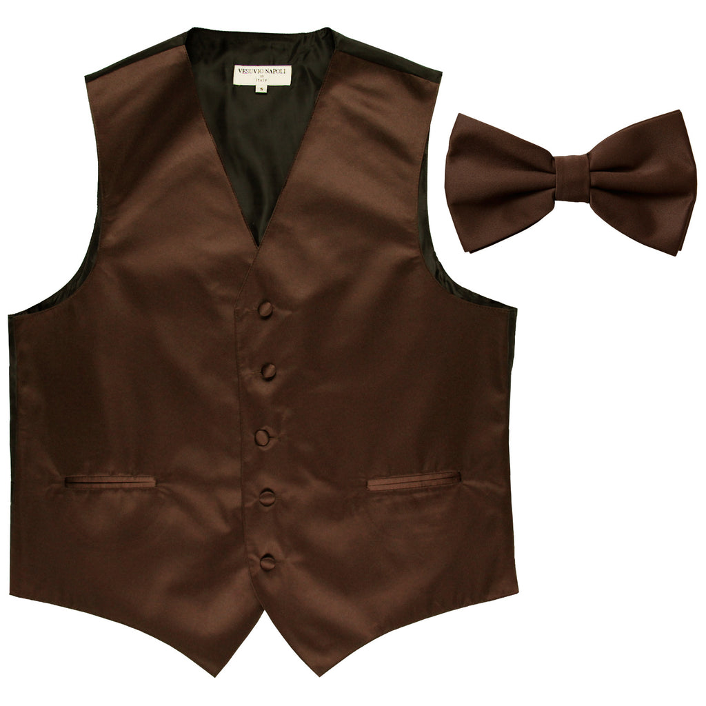 New Men's Formal Vest Tuxedo Waistcoat with Bowtie wedding prom party brown