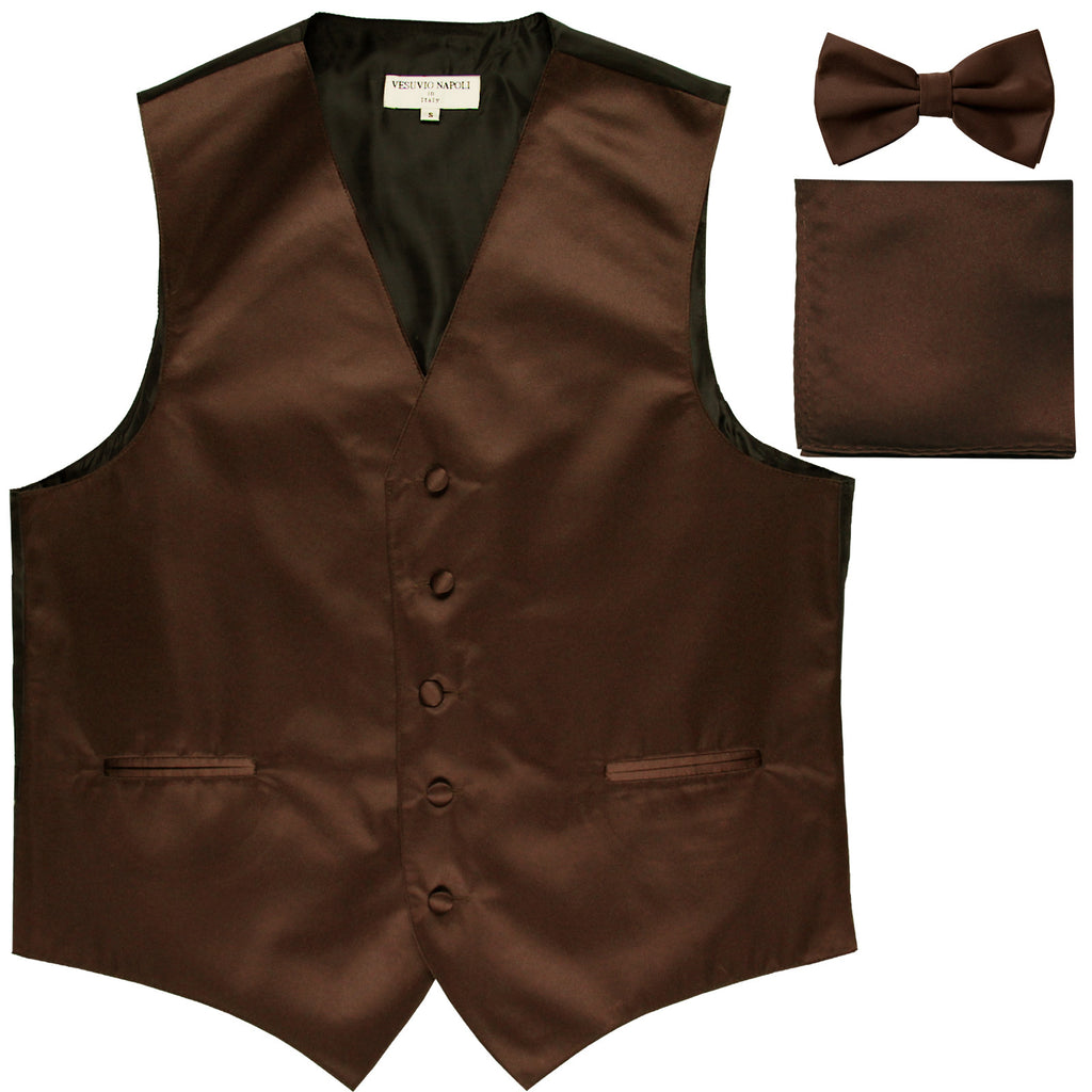 New Men's formal vest Tuxedo Waistcoat_bowtie & hankie set wedding prom brown
