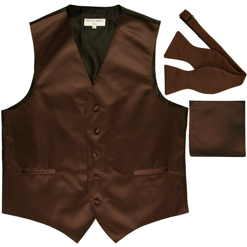 New Men's vest Tuxedo Waistcoat self tie bow tie and hankie set brown
