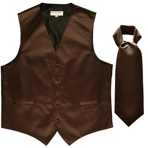 New Men's Formal Tuxedo Vest Waistcoat solid & Ascot cravat Prom brown