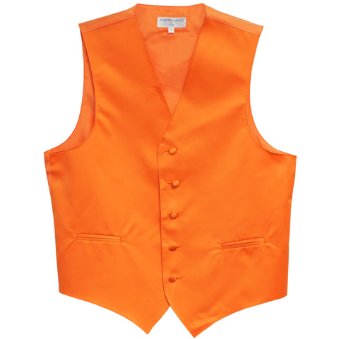 New polyester men's tuxedo vest waistcoat only solid wedding formal orange