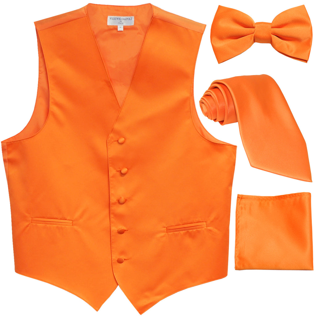 New Men's solid Tuxedo Vest Waistcoat & necktie & Bow tie & Hankie prom orange