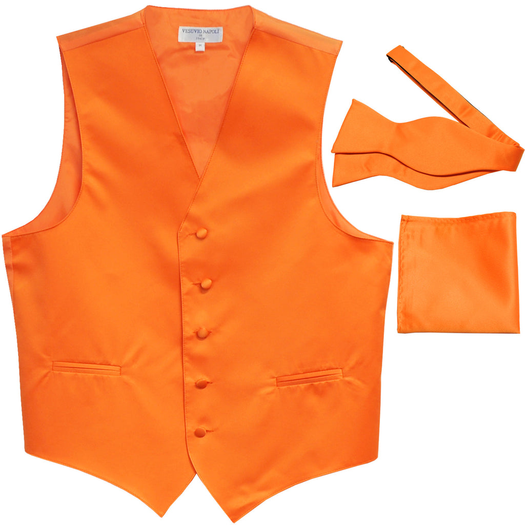 New Men's vest Tuxedo Waistcoat self tie bow tie and hankie set orange