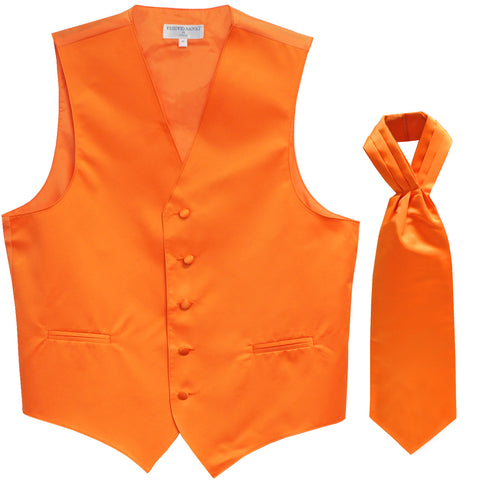 New Men's Formal Tuxedo Vest Waistcoat solid & Ascot cravat Prom orange