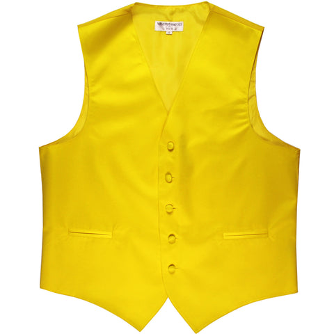 New polyester men's tuxedo vest waistcoat only solid wedding formal yellow