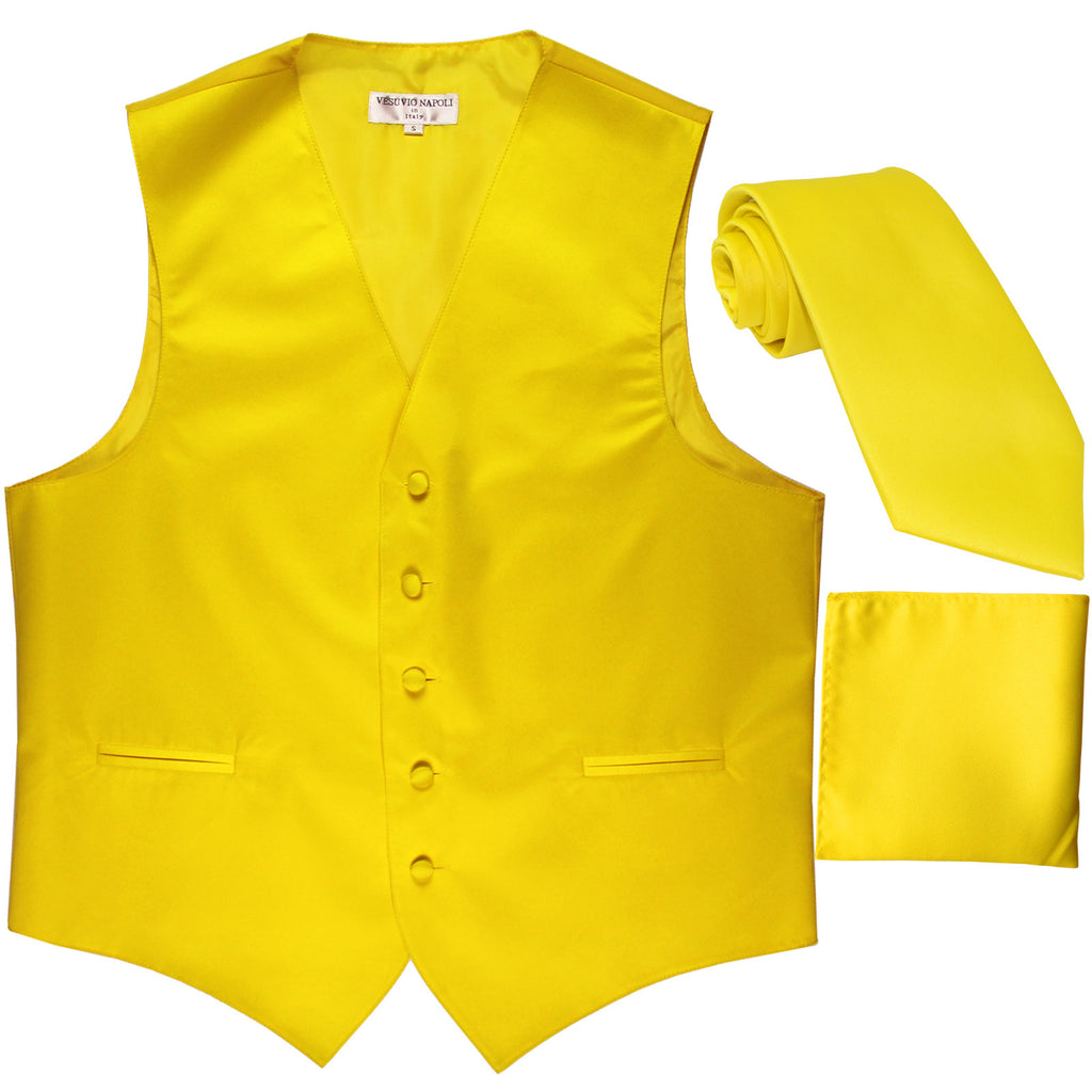 New Men's formal vest Tuxedo Waistcoat_necktie & hankie set wedding yellow