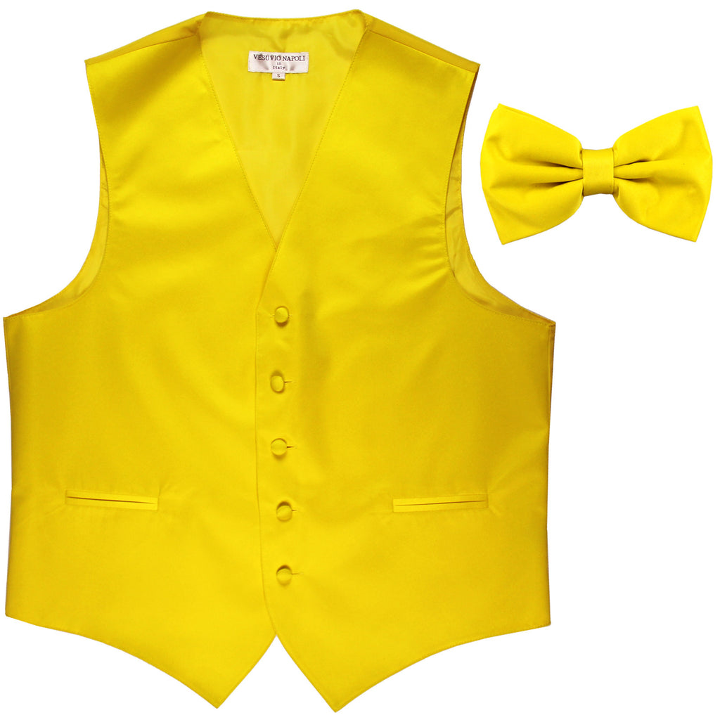 New Men's Formal Vest Tuxedo Waistcoat with Bowtie wedding prom party yellow