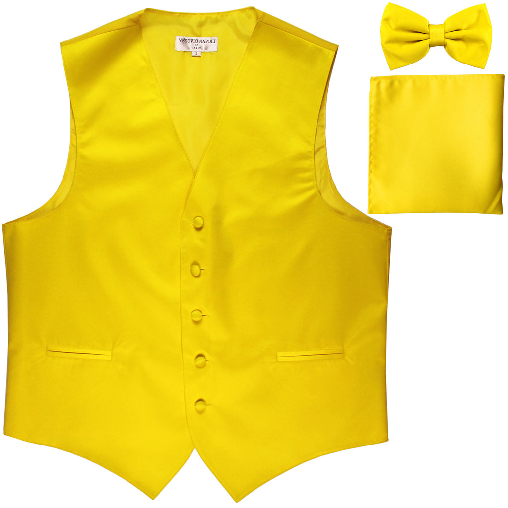 New Men's formal vest Tuxedo Waistcoat_bowtie & hankie set wedding prom yellow