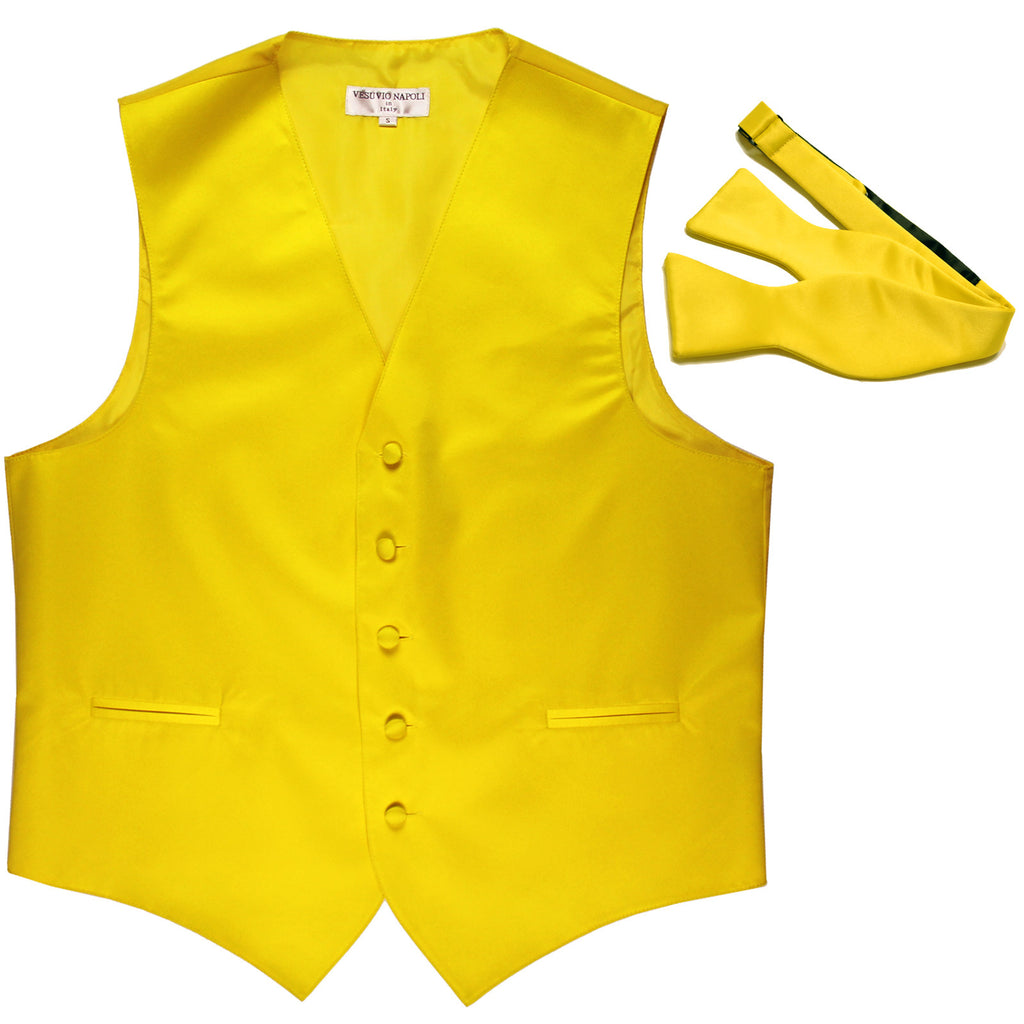 New Men's Formal Vest Tuxedo Waistcoat with free style selftie Bowtie yellow