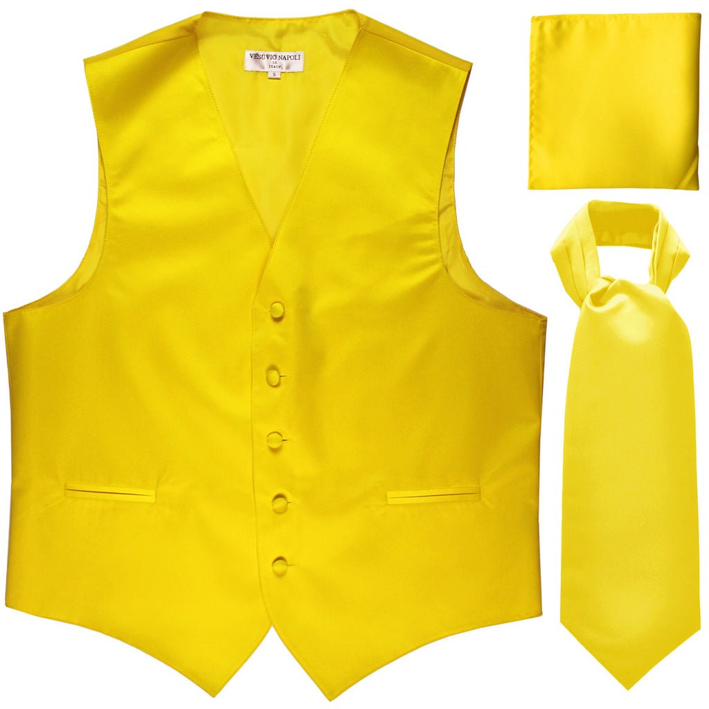 New Men's formal vest Tuxedo Waistcoat ascot hankie set wedding prom yellow