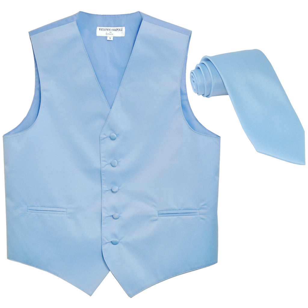 New Men's Formal Tuxedo Vest Waistcoat_Necktie solid wedding prom light blue
