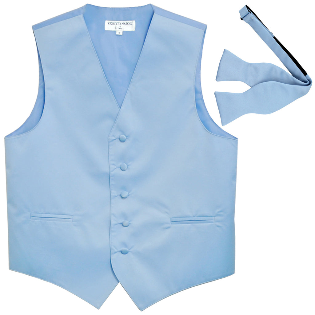 New Men's Formal Vest Tuxedo Waistcoat with free style selftie Bowtie light blue